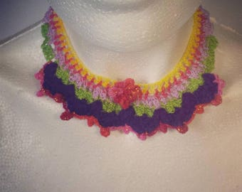 MEXICAN STYLE NECKLACE. Frida Kahlo style necklace. Knitted choker. Mexican choker. colorful choker. statement choker