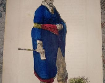 Indian prints hand colored
