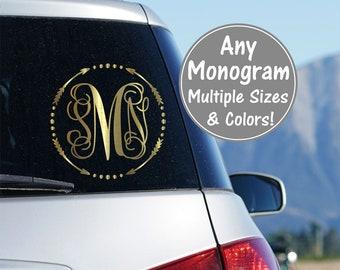 Vine Monogram Decal Arrow Monogram Vinyl Car Decal Vine Monogram Cursive Monogram Fancy Monogram Script Monogram Glitter Car Decal Sticker
