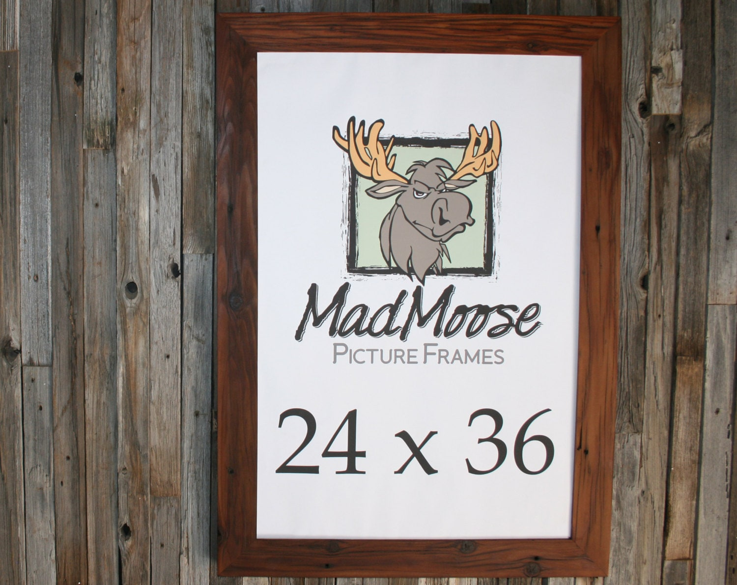 24x36 Reclaimed Redwood Chunky x 3 Picture Frame