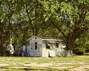 Tiny Roadside Shop Photo - US 40 National Road Photograph - Road Trip Wall Art - Summery Green Trees - Semi-Abandoned Building - White Wood