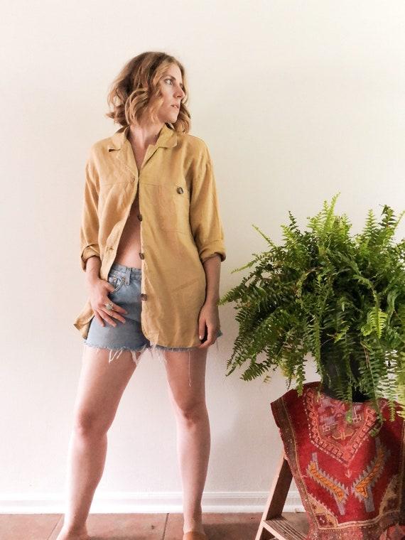 Vintage Linen Blazer // L/XL