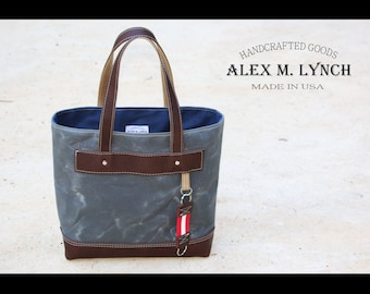 Unisex waxed canvas and leather tote - charcoal and brown oiled leather - MADE IN USA