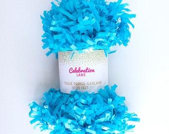 Turquoise Tissue Fringe Garland, 25 Feet - by Celebration Lane