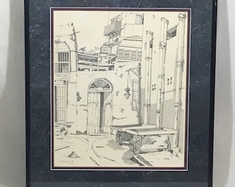 Original Pen and Ink Drawing Old Spanish Architecture 15 x 17 Signed Framed 1979