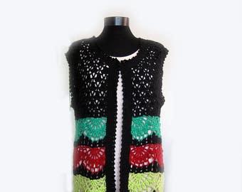 Vest,Crochet Women Vest,Boho vest,crochet vest,stripy vest, hand crochet vest,urban boho,boho vest,multicolor vest