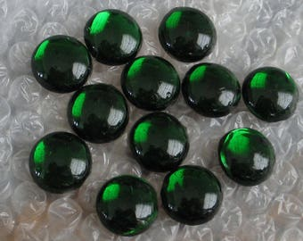 30pc  Imperfect Emerald Green Antique Glass Cabachons  17-18mm