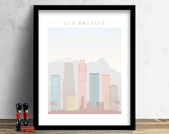 Los Angeles Skyline, Print, Watercolor Print, California Hollywood Wall Art, Watercolor Art, City Poster, Cityscape, Home Decor, Gift PRINT