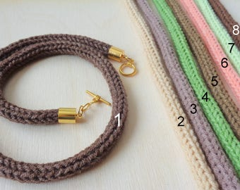 Knit Cotton Cord, Knitted Necklace, Cotton yarn necklace