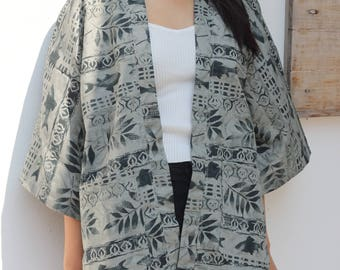 Kimono Jacket Kimono Cardigan Modern Abstract Simple Grey with Japanese Fish Pattern