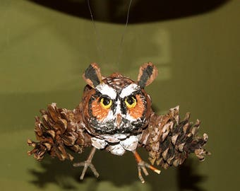 Great Horned Owl Pinecone Adirondack Ornament Figurine