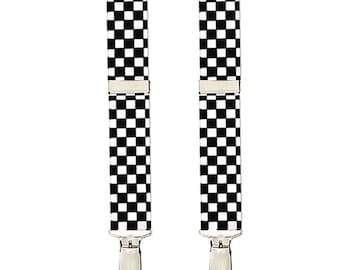 "CHECKERED SUSPENDERS - Black and White - 3 Adult Sizes for Better Fit - 1"" Width Elastic"