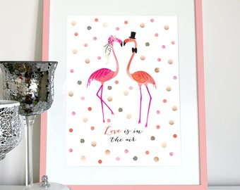 Love is in the air, flamingos in love wedding print, flamingo wedding, engagement, anniversary, Valentines gift