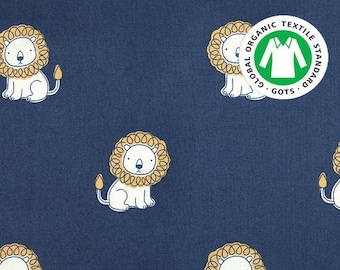 Scared Lion, Certified Organic Cotton 100% fabric , by Yard