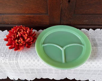 Jadeite Green Grill Plate' - Fire-King Logo  - Multi-tasking Serving Plate - Three Slot Plate