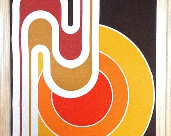 Reserved for Aleah: Vintage Panton Style Mid Century Abstract Geometric Fabric Wall Hanging Local Pick Up Only
