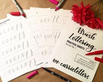 Brush Lettering Practice Sheets Ver. No. 1 Basic Strokes