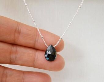 Black Spinel Pendant Necklace,SterlingSilver Satellite Chain,Black Spinel Briolette Necklace,SterlingSilver Spinal gemstone Necklace (0107N)