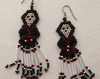 Navajo Woman Hand Beaded Earrings Black Red White