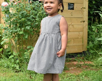 Organic Cotton Black Gingham Dress