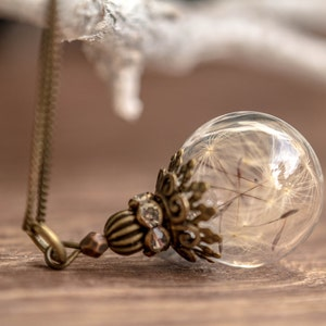 Real Dandelion Necklace, Antique Bronze chain,  dandelion in Blown glass, Glass Ball with dandelion filled, vial glass dandelion seeds