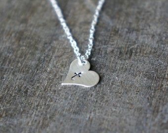 Personalized Silver Heart Necklace with Initial / Heart Pendant on Sterling Silver Chain ... choose your letter or leave blank