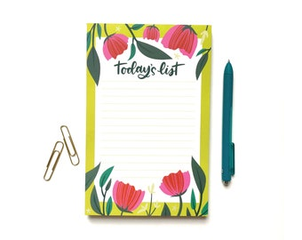To Do List Pad, list Notepad, office supplies, desk supplies, Daily planner organization, Graduation Gift, floral list pad