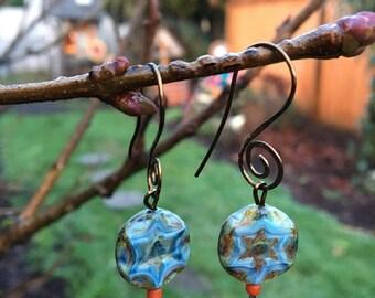 Boho chic minimalist style earring with Czech glass