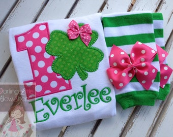 Baby Girl First Birthday outfit -- Wee Bit O' Fun to Be 1 -- Shamrock hot pink and green bodysuit and leg warmers