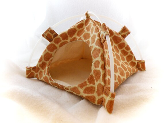 Giraffe Print Snuggle Tent for Hedgehogs Rats Small Mammals Zhu Zhu