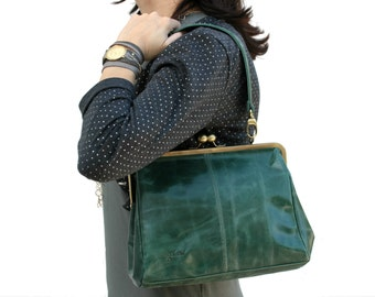 Green Leather Clutch-Leather Ball Clasp Purse-Big Purses-Leather-Cross Shoulder Bag-Hand Bags-Leather Handbag-Shoulder Bag-St Patrick's day