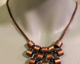 Chainmaille Inspired Recycled Copper Tubing Necklace