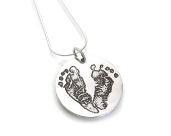 Baby Footprint Necklace - Newborn Footprint Jewelry - Baby Feet Charm Pendant - Infant Foot Print Necklace New Baby Gift Mother's Day Set