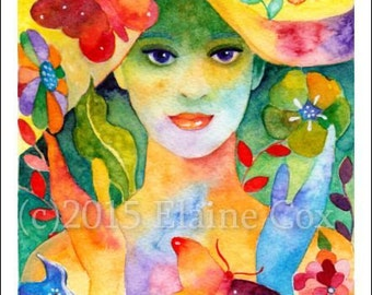 """Spring Welcome ACEO print 2.5""""x3.5"""" ElaineCoxArt"""