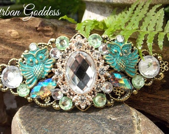 Beauitful Vintage style  OWL embellished hair clip - Barrette - Hair accessory - Petina Qwls - Bronze metal Fillagree clip - Urban Goddess