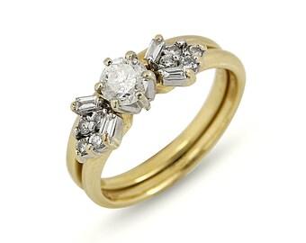 Wedding ring set, Engagement ring, Gold ring, Vintage, Diamond ring, Promise ring, Gemstone ring, Statement ring, Anniversary, Dainty ring