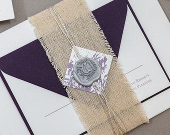 Calligraphy Toile Wedding Invitation,French Calligraphy Wedding invitation,Wax Seal Wedding Invitation set,Ultra Violet Wedding,Pantone 2018