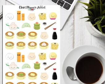 Kawaii Yumcha Planner Stickers | Yumcha Stickers | Dim Sum Stickers | Food Stickers | Kawaii Stickers | Dumplings Stickers | Wontons (S-079)