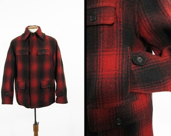 Vintage 40s Mackinaw Hunting Coat Red Shadow Plaid Heavyweight Wool - Size 44