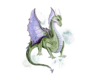 Dragon Art Print - Watercolor Dragon Painting - Dragon Nursery Art - Kids Wall Art - Dragon Wall Art - Boys Room Decor - Fantasy Art Print