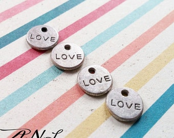 Word Charms Love Charms Silver Word Charms Tag Charms Silver Love Charms Tiny Word Charms Miniature Charms Silver Charms 20 pieces