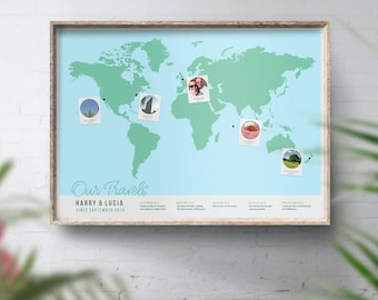 Photo Travel Map, Guest Book Alternative, World Map Print, Places We've Been, Where We Met, Our Journey, 1st Anniversary, 40th Birthday Gift