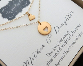 Mother daughter necklace, Gold heart mother daughter jewelry & card set, mothers day gift from daughter, valentine gift