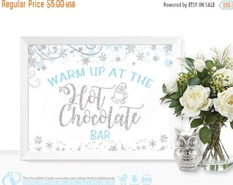 ON SALE Hot Chocolate Bar, Blue & Silver, Hot Cocoa Party, Baby shower, Bridal Shower, Winter Onederland Party Table Decoration, INSTANT