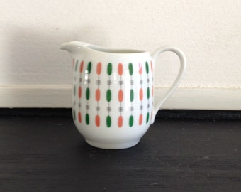 GERMANY Cream pitcher / jug / Seltmann Bavaria Petra / 50s / green / pale rose / flower / abstract