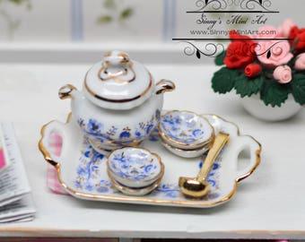 1:12 Dollhouse Miniature Gold Blue Onion Soup Set/Miniature Kitchenware RP 1.643/5