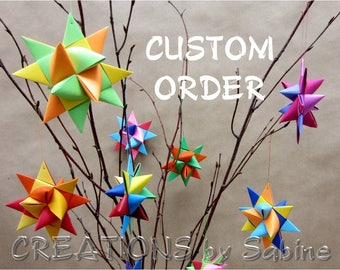 Custom Ornaments, Paper Stars or Ribbon Stars MADE TO ORDER Create your own Custom Order for 3-d or flat Garlands / German Froebel