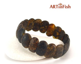 Genuine Baltic Amber BRACELET. 100% natural RAW stones. THERAPEUTIC. For men & women, adult size on elastic.