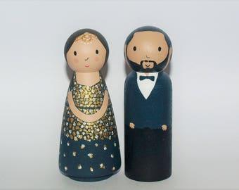 Custom Wedding Cake Topper -  Bride and Groom Figurine - Personalized Wedding Decor Keepsake