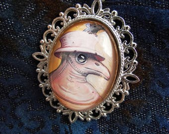 Custom Plague Doctor necklace or brooch